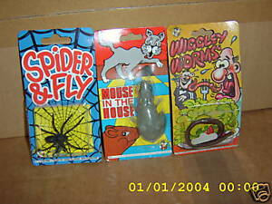4 Fake Insects.Joke Tricks.Spider & Fly-Mouse-Worm. Guaranteed delivery