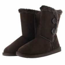 Womens Fur Boots Suede Mid Calf Cold Winter Snow Faux Suede Flat Sheepskin Shoes