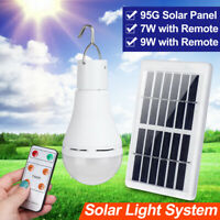 Portable Bulb Outdoor Indoor Solar Powered Panel LED Lighting System Lights 9W