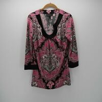 Inc International Concepts Pink Black Boho  3/4 Sleeve Tunic Blouse Top Size S