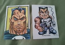 THE PUNISHER HAND DRAWN COLOUR SKETCH ART CARD BY RAK MARVEL DC COMICS PSC ACEO
