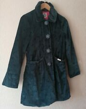 Ness 100% Cotton Velvet Teal MATILDA Coat Fitted Jacket 8 Bow Ribbon Print