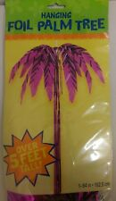 "Large 5ft+ Pink Foil Palm Tree Hanging Decoration Hawaiian/Luau Party 64""/162cm"