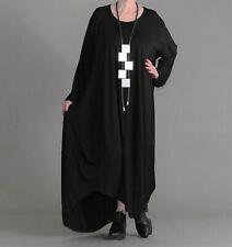 ♦ AKH Oversize Shirt-Ballon-Kleid Gr. 48,50,52,54,56,58/60 schwarz, extra lang ♦