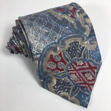 Oscar De La Renta Mens Tie 100% Silk Blue Red Print