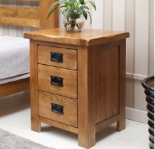 Rustic Oak Bedside Table 3 Drawer High Bedside Chest Small Bedside Cabinet Stand
