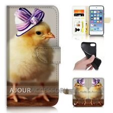 ( For iPod Touch 6 ) Wallet Flip Case Cover AJ21435 Cute Chick Hat