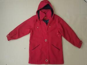Women David Barry Ladies Jacket Detachable Hood Long Sleeves Coat Red UK10