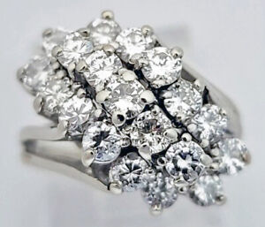 Round Brilliant Cut Diamond Waterfall Cluster ring, 2.00tcw, 14kt White Gold, $4