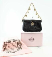 Juicy Couture NEW $155 7.5 x 4.75 Black Leather Gold Chain Charm Mini Purse N100