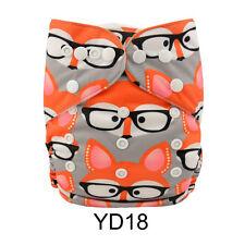 Alva Baby Fox Print Washable Reusable Pocket Cloth Diaper Nappy+1Insert