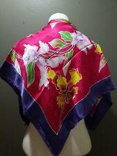 Vintage Huge Large Scarf Hand Painted & Rolled Floral Multicolor 100% Silk 35x35