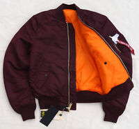 ALPHA INDUSTRIES MA1 Slim Flight Jacket Bomber Pilot Reversible Maroon Men's S