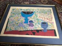 large original framed lithograph .signed by roger bezombes