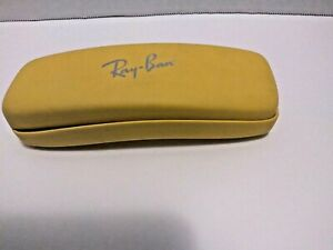 Ray Ban Hard Shell Sun Glass Case, Yellow with Red Interior, Spring Loaded Hinge