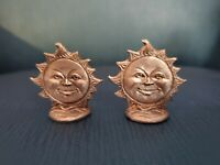 "Rare Lot of (2) Miniature Vintage Gallo Fine Pewter Sun Figurines!  1 1/4"" T"