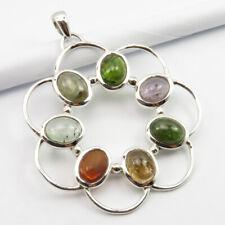 "Women Jewelry Sterling Silver Tourmaline Pendant 1.8"""