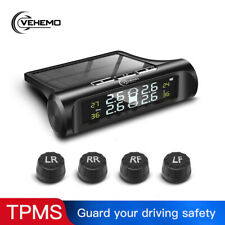 Wireless Solar TPMS Temperature LCD Car Tire Pressure Monitor System + 4 Sensors