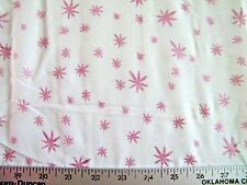 IRREDESCENT PINK STARS ON SHEER COTTON BLEND FABRIC BY THE 1/2  YARD