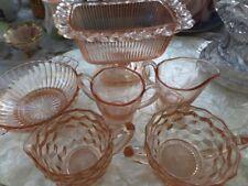 Collection set of 6 Vintage Pink Depression Glass