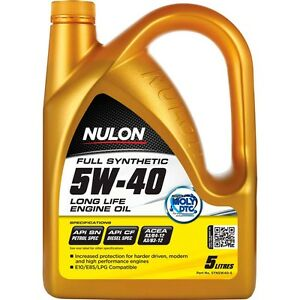 Nulon Long Life Full Synthetic Car Engine Oil 5W-40 5 Litre