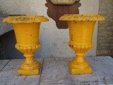 Paire de vases de jardin Médicis en fonte Epoque XIX°