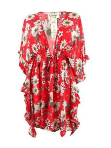 Jessica Simpson Women's Printed Ruffle-Sleeve Dress Swim Cover-Up