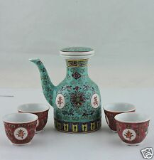 JAPANESE SAKE OR CHINESE PORCELAIN TEA SET JUG/POT W/LID CUPS 5 PC TEAL/PINK