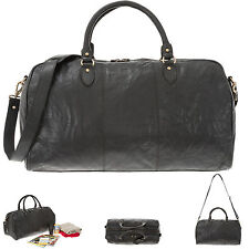 Reisetasche JUSTIFIED Ledertasche Duffle Bag COOPER Tasche Weekender SCHW +Etui