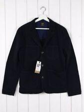 Cappotti e giacche da uomo blu in pelle con bottone