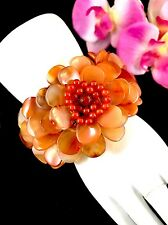 HANDCRAFTED DESIGNER SOMS. TH. WOVEN FABRIC CARNELIAN STONE FLORAL CUFF BRACELET