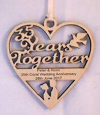 PERSONALISED 35TH YEAR ANNIVERSARY PLAQUE - ENGRAVED WITH YOUR OWN WORDING