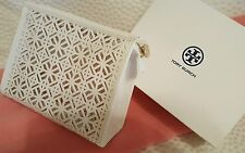 TORY BURCH WHITE Patent LEATHER LACE Cosmetic Makeup Bag CASE pouch NEW W/BOX!!!