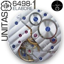 MOVEMENT ETA UNITAS 6498-1, ELABORE, COTE DE GENEVE, BLUE SCREWS