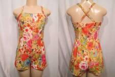 Vintage 50s Swimsuit PIN UP GABAR Tina Leser Flowers Cotton One Piece Swim Suit