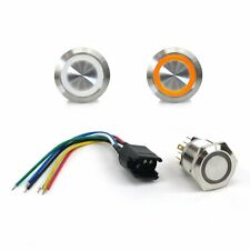22mm Led Orange Latching Billet Button with Wire Harness streets rods rat rods