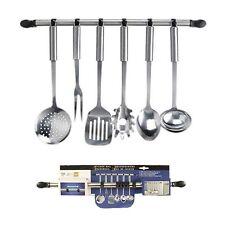 6 GANCI Kitchen Utensil titolare GANCIO FERROVIARIO set in acciaio inox appendere rack holder
