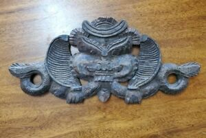 Handmade Carved Wood Vintage Wall Decor Face Snake Unknown Origin Asian?...