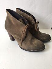 Indigo Clarks Suede Desert Boots Booties Ankle Heel Sz 10.5 Army Green Brown