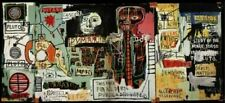 """Jean Michel Basquiat oil painting on canvas Expressionism - """"Notary"""" 24x48"""""""