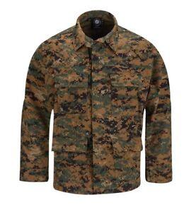 Woodland Digital Tactical Military Uniform 4-Pocket Coat Shirt Propper Ripstop