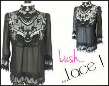 STUNNING GOTHIC HIGH NECK LACE DETAIL SHEER BLACK BLOUSE VICTORIAN GOVERNESS 12
