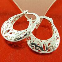 Earrings Real 925 Sterling Silver S/F Solid Antique Filigree Drop Hoop Design