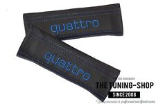 """2x Seat Belt Covers Pads Black Leather """"quattro"""" Blue Embroidery for Audi"""