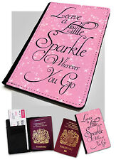 Passport Holder Sparkle Wherever You Go Quote Printed Faux Leather Cover