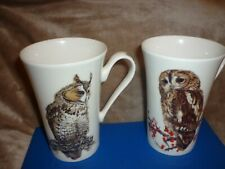 More details for 2 x 2004 roy kirkham protected species fine bone china mugs owls mint