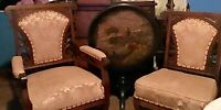 Antique Victorian Eastlake 4 Piece Set Parlor Set - Love seat and 2 chairs