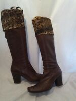 Kate ladies brown leather & leopard print boots uk 5 ref fe01
