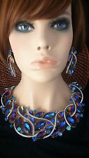 Chunky Watermelon Blue Heliotrope Glass Crystal Prom Wedding Bride Necklace Set