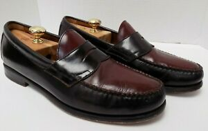 Bass Weejuns 75th Anniversary Two Tone Loafers Brown Black Leather Size 11.5D
